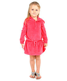 Cherry Crumble California Soft Velour Hoodie Dress For Girls - Fuchsia