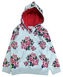 Beebay Full Sleeves Floral Print Hooded Sweatshirt - Grey