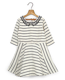 Beebay Long Sleeves Party Dress Stripes Pattern - White And Black