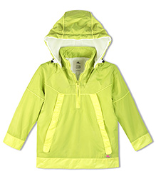 Cherry Crumble California Lightweight Windbreaker With Fleece For Boys & Girls - Green