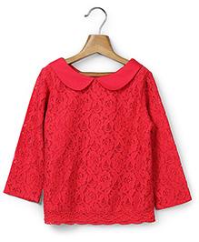 Beebay Peter Pan Collar Top Lace Design - Red