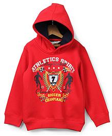 Beebay Hooded Sweatshirt Athletic Print - Red