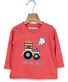 Beebay Full Sleeves T-Shirt Tractor Print - Reddish Orange