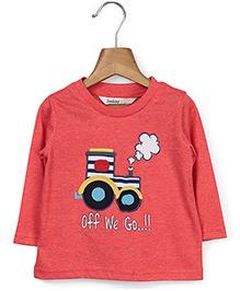 Beebay Full Sleeves T-Shirt Tractor Print - Reddish Orange