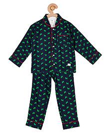 Cherry Crumble California Top & Pyjama Night Suit Set For Boys & Girls - Blue