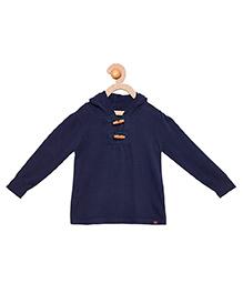Cherry Crumble California Premium Wooden Button Sweater - Navy Blue