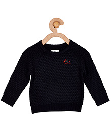 Cherry Crumble California Premium Oval Waffle Knit Sweater For Boys & Girls - Black