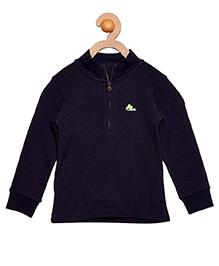 Cherry Crumble California Fine Waffle Half Zipped Sweatshirt For Boys & Girls - Blue