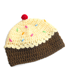Dollops Of Sunshine Cup Cake Hat - Cream & Brown