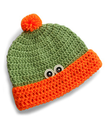 Dollops Of Sunshine Peek-A-Boo Hat - Green & Orange