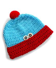 Dollops Of Sunshine Peek-A-Boo Hat - Blue & Red