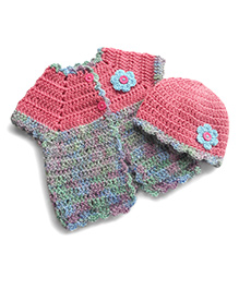 Dollops Of Sunshine Sweetpea Sweater & Hat Set - Rose & Blue