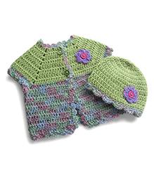 Dollops Of Sunshine Sweetpea Sweater & Hat Set - Green & Purple
