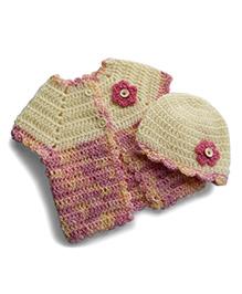 Dollops Of Sunshine Sweetpea Sweater & Hat Set - Cream & Pink