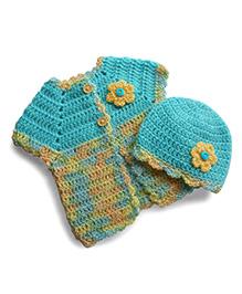 Dollops Of Sunshine Sweetpea Sweater & Hat Set - Blue & Yellow
