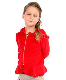 Cherry Crumble California Premium Velour Fit N Flare Hoodie - Red