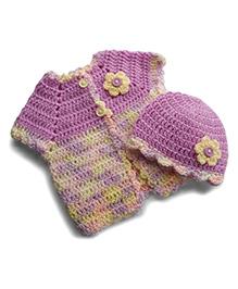 Dollops Of Sunshine Sweetpea Sweater & Hat Set - Lavender & Cream