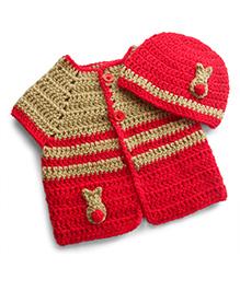 Dollops Of Sunshine Bunny Sweater & Hat Set - Biege & Red