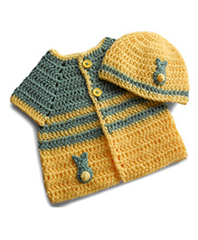 Dollops Of Sunshine Bunny Sweater & Hat Set - Grey & Yellow