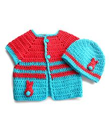Dollops Of Sunshine Bunny Sweater & Hat Set - Carrot & Ice Blue