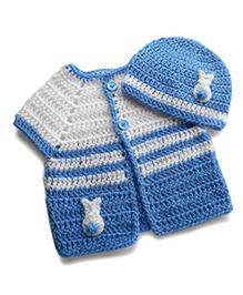Dollops Of Sunshine Bunny Sweater & Hat Set - White & Blue