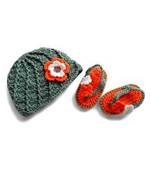 Dollops Of Sunshine Sweetpea Hat & Flip Flops Set - Grey & Orange