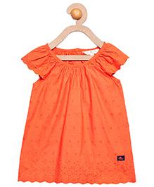 Cherry Crumble California 100% Cotton Fine Embroidered Top - Orange