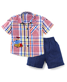 Jash Kids Half Sleeves Check Shirt And Shorts Elephant Embroidery - Red Blue