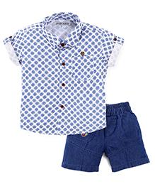 Jash Kids Half Sleeves Shirt And Shorts Suit Set - Blue White