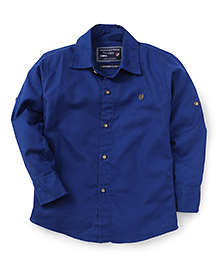 Jash Kids Full Sleeves Plain Solid Color Shirt - Ink Blue