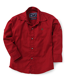 Jash Kids Full Sleeves Plain Solid Color Shirt - Maroon