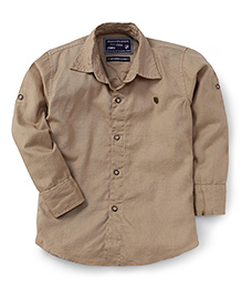Jash Kids Full Sleeves Plain Solid Color Shirt - Fawn