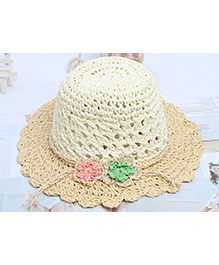 Princess Cart Hollow Out Paper Straw Hat - Beige