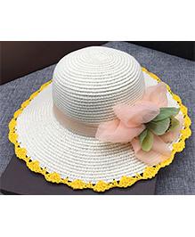 Princess Cart Orchid Flower Sun Cap - White