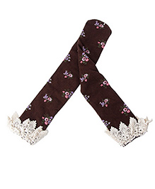 Princess Cart Knee Length Floral Socks - Brown