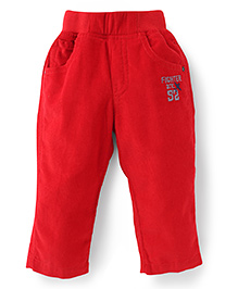 Jash Kids Full Length Pull On Pants Fighter Div Embroidery - Red