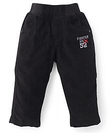 Jash Kids Full Length Pull On Pants Fighter Div Embroidery - Black