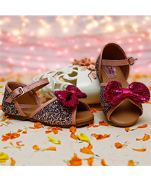 D'Chica Bow Applique Sandals For Her - Pink & Fuschia