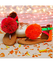 D'Chica Pom Pom Mismatch Sandals For Girls - Multicolor