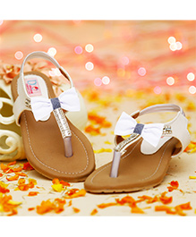 D'Chica Blingy Sandals For Girls - White