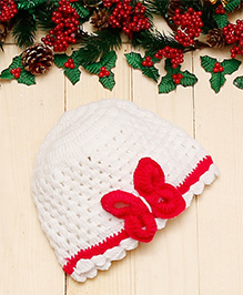 D'Chica Happy And Warm Woollen Butterfly Cap For Girls - White & Fuchsia