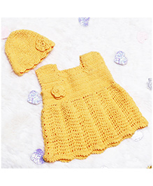D'Chica Knitted With Love Woollen Dress With Cap For Baby Girls - Yellow