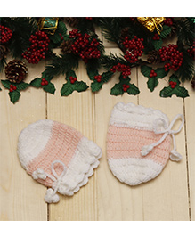 D'Chica Chic Pastel Woollen Mittens For Baby Girls - White & Pink