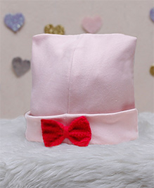 D'Chica Bows Applique Chic Cotton Cap For Baby Girls - Pink