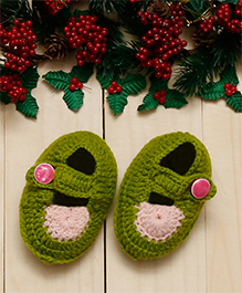 D'Chica Chic Button Up Woollen Booties For Baby Girls - Green