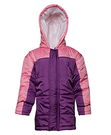 Imagica Full Sleeves Quilted Hooded Jacket - Purple & Pink