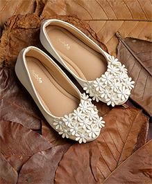 Pikaboo Essentials Flowery Feet Ballerinas Shoes - White