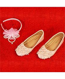 Pikaboo Essentials Flowery Feet Ballerinas Shoes - Peach