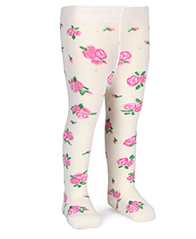 Mustang Rose Printed Footed Stocking Tights - Cream