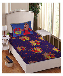 Motu Patlu Anthom Trendz Printed Single Bed Sheet With Pillow Cover Set - Purple MTP-01-131-S